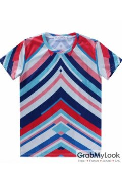 Colorful Stripes Tribal Enthic Pattern Men Short Sleeves T Shirt
