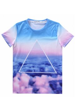 Triangle Galaxy Universe Colorful Sky Cloud Short Sleeves T Shirt