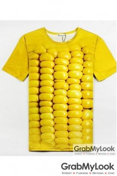 Yellow Juicy Corn Mens Short Sleeves T Shirt