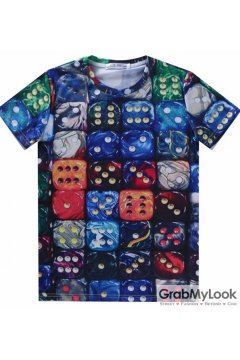 Colorful Dices Mens Short Sleeves T Shirt