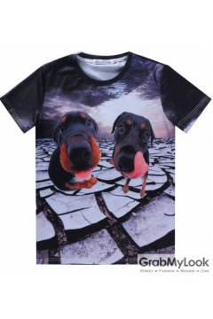 Black Two Dutchhunds Dogs Mens Short Sleeves T Shirt
