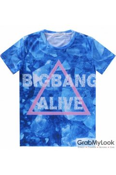 Blue Bigbang Alive Triangle Mens Short Sleeves T Shirt
