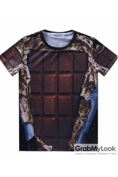 Brown Chocolate Bar Mens Short Sleeves T Shirt