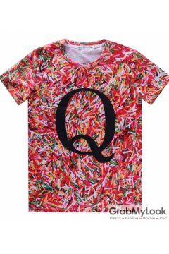 Colored Vermicelli Q Letter Mens Short Sleeves T Shirt