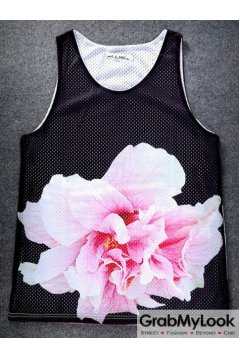 Black Giant Flower Net Sleeveless Mens T shirt Vest Sports Tank Top