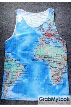Blue Universe Globe Map Net Sleeveless Mens T shirt Vest Sports Tank Top