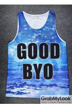 Blue Sky Cloud Good Byo Net Sleeveless Mens T shirt Vest Sports Tank Top