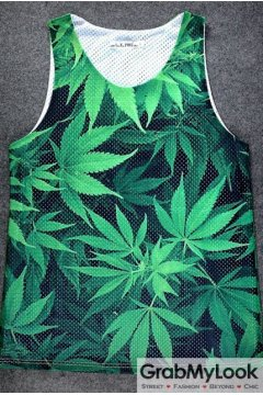 Green Hemp Weed Leaves Net Sleeveless Mens T shirt Vest Sports Tank Top