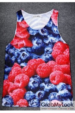 Fresh Raspberries Blackberries Net Sleeveless Mens T shirt Vest Sports Tank Top