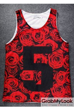 Red Roses Five 5 Net Sleeveless Mens T shirt Vest Sports Tank Top
