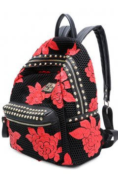 Black Red Roses Flowers Laces Gold Metal Studs Punk Rock Gothic Funky Backpack