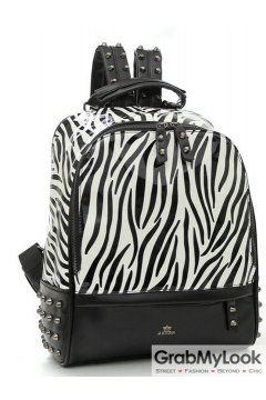 Black Zebra Pattern Blunt Metal Studs Punk Rock Gothic Funky Backpack