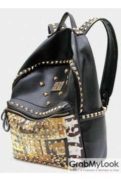 Black Leather Gold Metal Studs Punk Rock Gothic Funky Backpack