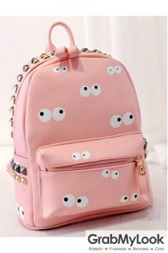 Leather Cartoon Eyes Metal Studs Punk Rock Gothic Funky Backpack