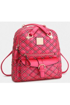 Metallic Quilted Leather Cross Straps High Fashion 2 Way Backpack