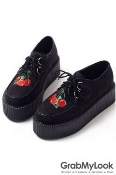 Black Suede Red Cherry Lace Up Creepers Platforms Women Oxfords Shoes
