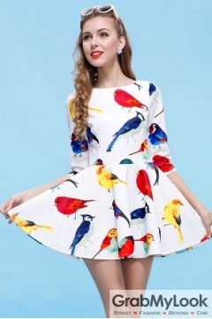Mid Sleeves White Colorful Birds A-line Cocktail Skirt Dress Skirt