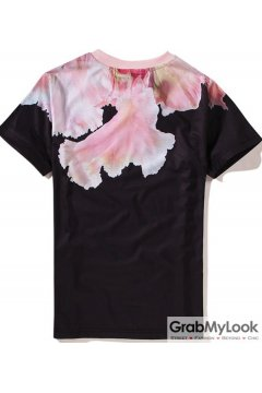 Pink Flower Patel Round Neck Short Sleeves Mens T Shirt Summer Beach Wear