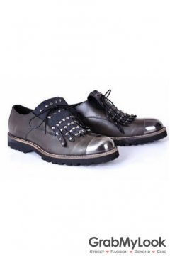 Metal Cap Vintage Leather Mens Studs Spikes Punk Rock Mens Oxfords Shoes