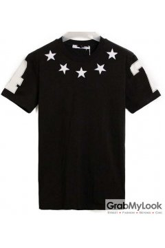 Stars 47 Black White Mens Short Sleeves T-Shirt Summer Beach Wear