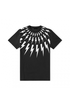 Thunder Lightning Symbol Mens Black White Round Neck Short Sleeves T-Shirt Summer Beach Wear