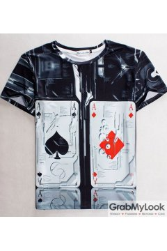 Poker Aces Cards Short Sleevs High Fashion Mens Short Sleevs T Shirt Summer Beach Wear