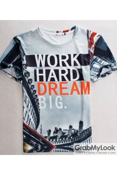 Work Hard Dream Big 3D Short Sleevs Mens T-Shirt Summer Beach Wear