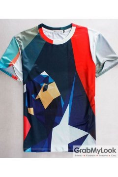 Colorful Geometric Abstract Short Sleeves Mens T Shirt Summer