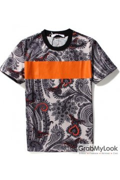 Vintage Paisley Pattern Orange Stripes Mens Short Sleeves T-Shirt Summer Beach Wear