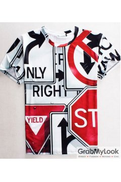 Road Signs Round Neck Short Sleeves Mens T-Shirt Summer Beach Wear