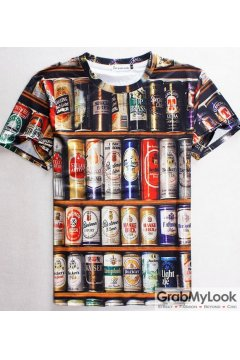 Vintage Bar 3D Beer Cans Men Short Sleeves T Shirt