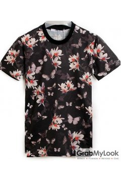 Black White Flowers Floral Round Neck Mens Short Sleeves T Shirt