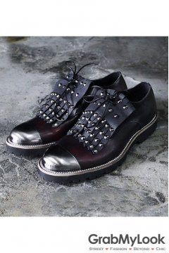 Burgandy Metal Cap Vintage Leather Mens Studs Spikes Punk Rock Mens Oxfords Shoes