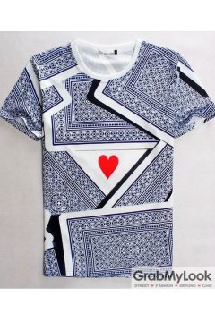Red Heart Poker Heart Short Sleeves Mens T-Shirt Summer Beach Wear
