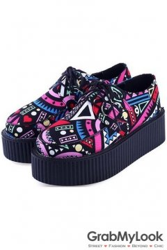 Colorful Tribal Enthic Pattern Lace Up Platforms Oxfords Creepers Women Shoes