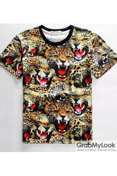 Fierce Tiger Face Exotic Men Short Sleeves T Shirt