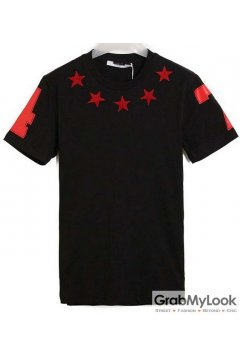 Stars 47 Black Red Mens Short Sleeves T-Shirt Summer Beach Wear