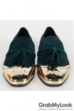 Blue Metal Cap Suede Leather Mens Blunt Head Tassels Mens Loafers Oxfords Shoes