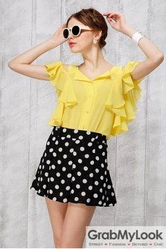 Yellow Flounce Sexy Off Shoulder Cut Out Bat Wing Blouse Top Shirt
