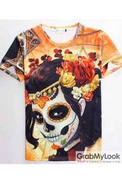 Skull Giesha Punk Rock Mens Short Sleeves Mens T-Shirt Summer Beach Wear