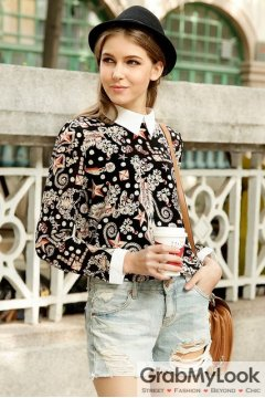 Black White Collar Vintage Pattern Gothic Long Sleeves Blouse Chiffon Shirt