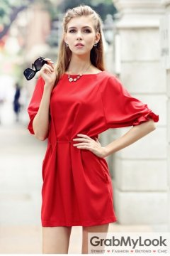 Red Fashion Cutting Two Way Mid Sleeves Skirt Dress Skirt