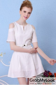White Off Shoulder Cutout Bow Belt Sexy Flounce A-line Cocktail Skirt Dress Skirt