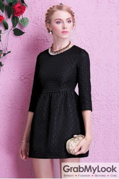 Mid Sleeves Black Elegant A-line Cocktail Skirt Dress Skirt