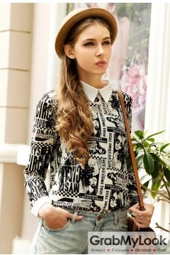 Cream Newspapers Magazines White Collar Gothic Long Sleeves Blouse Chiffon Shirt
