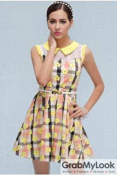 Vintage Sleeveless Vest Yellow Florwers Checkers Peterpan Collar A-line Cocktail Skirt Dress Skirt