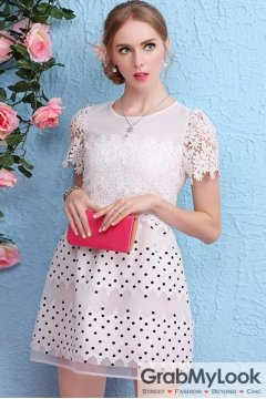 White Crochet Lace Short Sleeves Polkadost A-line Cocktail Skirt Dress Skirt