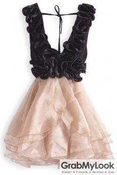 Champagne Cascading Ruffle V Neck Flare Organza Ballet Dress