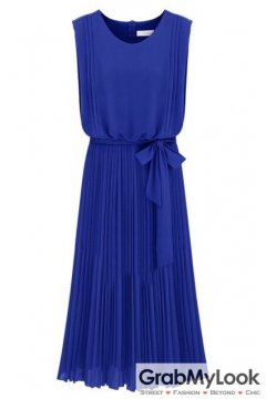 Sleeveless Blue Pleated Back Zipper Belt Long Dress