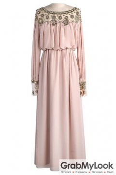 Chiffon Beads Embellished Sheer Sexy Shoulder Dirty Pink Goddess Athena Chiffon Long Sleeves Maxi Dress